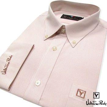 Valentino Rudy范倫鐵諾.路迪 長袖襯衫-咖啡色細紋(釘釦領)   (零碼出清 17.5吋/42)