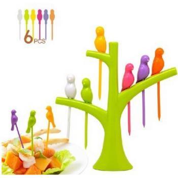【挪威森林】療癒系樹梢幸福鳥水果叉/點心叉/三明治叉