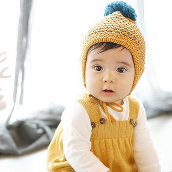 【美娜甜心】韓國限定款雙色針織兒童毛線帽/保暖帽/寶寶帽_時尚媽咪必備