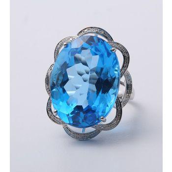 昕頤30克拉瑞士藍拓帕石戒指