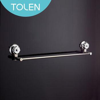 【Tolen陶然居】強力吸盤- Vixo威扣 鏡光單桿毛巾架(圓形)