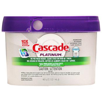 【美國 Cascade】洗碗機專用-全效合一洗碗碇39入(盒裝紫色)663g/23.3oz
