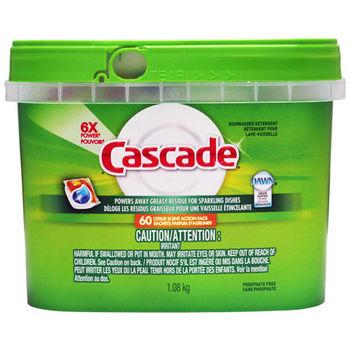 【美國 Cascade】洗碗機專用-強力洗碗碇60入(盒裝淺綠)1.08kg