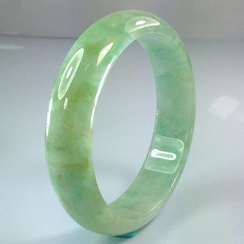 【藝森珠寶】緬甸天然翡翠A貨 滿綠撒金絲寬版圓鐲 A913