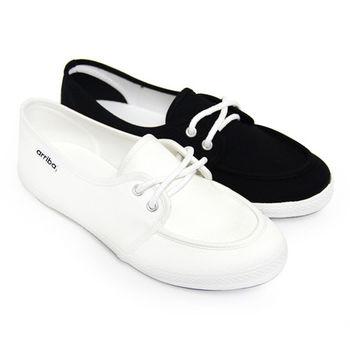【Pretty】簡約設計綁帶平底休閒帆布鞋-米色、黑色