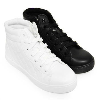 【Pretty】經典菱格紋綁帶中筒休閒鞋-白色、黑色