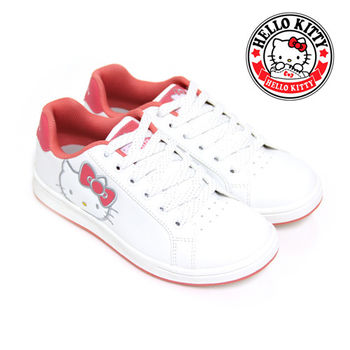 【HELLO KITTY】經典大臉凱蒂貓綁帶休閒板鞋-白色