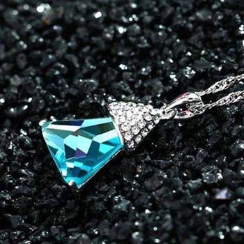 【米蘭精品】925純銀項鍊水晶吊墜鑲鑽艷麗迷人稜角切面