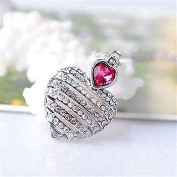 【米蘭精品】925純銀項鍊水晶吊墜鑲鑽閃耀動人心型短款