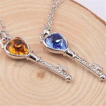 【米蘭精品】925純銀項鍊水晶吊墜鑲鑽情人節鑰匙造型