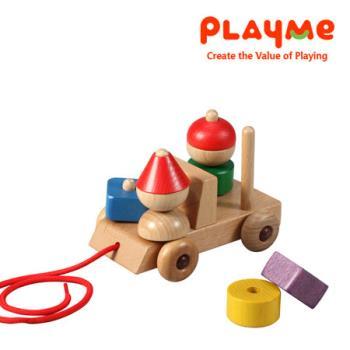 【PlayMe】歡樂禮物車~木製拖拉玩具