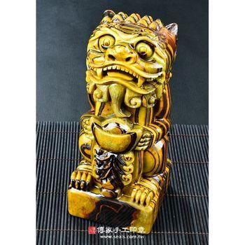 【傳家手工印章】頂級黃蜂鐵虎石(朝陽鐵虎石)風獅爺神明印章【半手工噴砂,大章1顆】