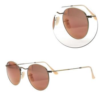 【Ray Ban】復古圓形水銀紅色銅框太陽眼鏡(RB3447-167/2K) Round Metal