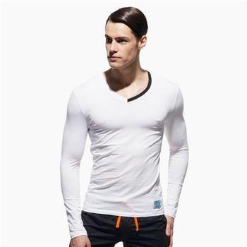 【P.S】極簡螢光領條舒適型男V領長袖T恤(白色)Private Structure