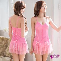 性感睡衣 層疊裙襬柔緞美背二件式ehs購物睡衣
