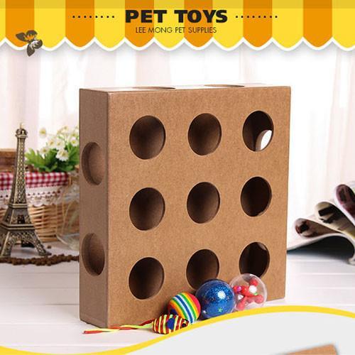 【寵物貴族】躲貓貓木質17洞寵物益智玩具_附2小球_喵星人最愛