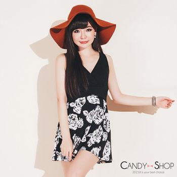 Candy小舖 甜美露肩深V拼接玫瑰傘狀裙襬短洋裝-黑色
