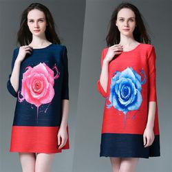 糖潮時尚玫瑰花中袖壓摺皺洋裝