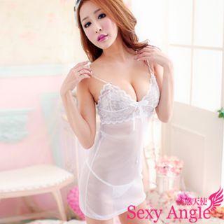 【誘惑天使】 A146-1誘惑升溫 深V花網柔緞洋裝+丁字褲二件式性感睡衣組 (誘惑白)