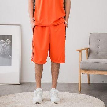【JimmyWang】男生吸排橘灰配色短褲*兩側有口袋-