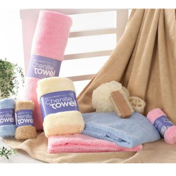 【YourShop】雪尼爾瞬間吸水超柔潔膚巾旅行組(L號浴巾x1+M號毛巾x1+S號方巾x1)