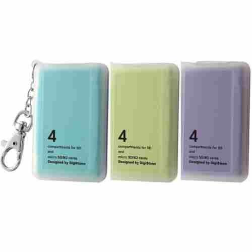 DigiStone 防震多功能4P記憶卡收納盒(4片裝)-三色藍綠紫 X1組(台灣製造!!)= 耐防震功能!!