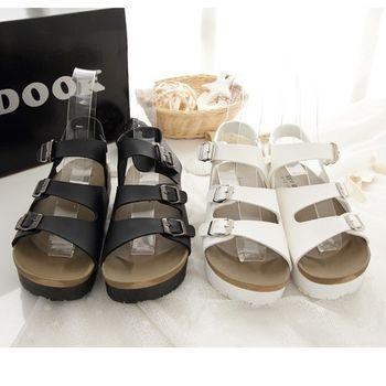 《DOOK》休閒勃肯三帶式厚底涼鞋-2色
