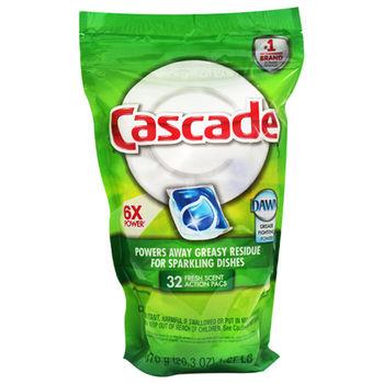 【美國 Cascade】洗碗機專用-洗碗膠囊32入補充包(清新-576g/20.3oz)
