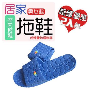 【JAR嚴選】居家 男女款 超輕量防滑底 室內拖鞋 拖鞋(男款)2入組