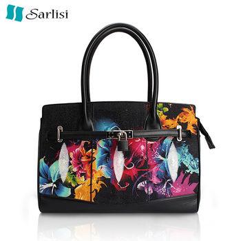 【Sarlisi】繽紛花朵珍珠魚皮柏金包(花朵)
