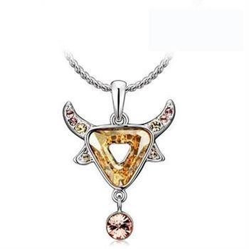 【米蘭精品】925純銀項鍊水晶吊墜鑲鑽星座金牛座造型