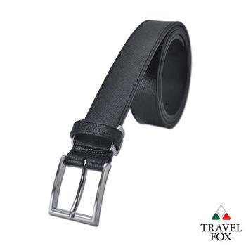 Travel Fox旅狐皮帶 - 細緻的帶頭 方塊壓紋真皮皮帶 - 素黑