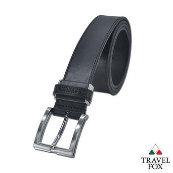 Travel Fox旅狐皮帶 - 雙層立體方型帶頭 極細紋真皮皮帶 - 特黑