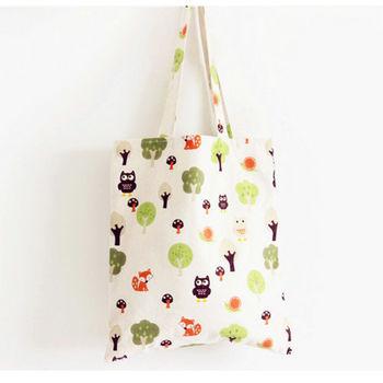 【香草花園】日系手作100%棉麻雙層拉鍊環保購物袋/手提袋/肩背袋_貓頭鷹小狐狸