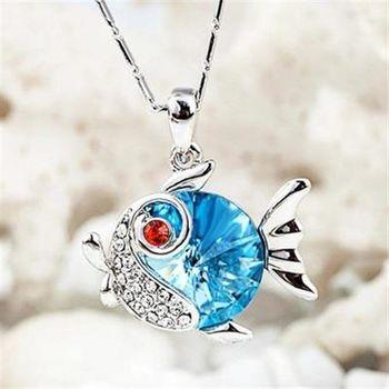 【米蘭精品】925純銀項鍊水晶吊墜甜美吸晴金魚造型