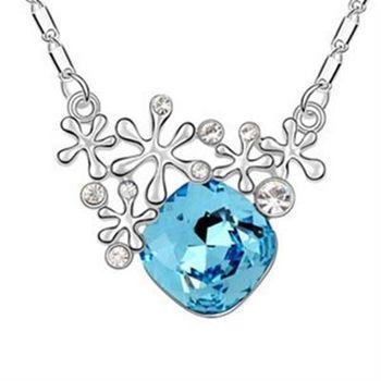 【米蘭精品】925純銀項鍊鑲鑽水晶吊墜甜美可愛雪花造型