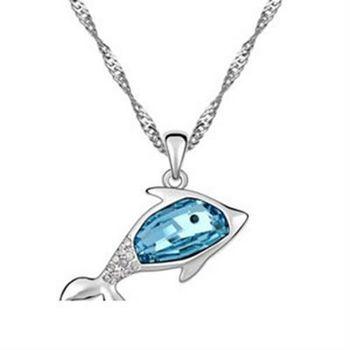 【米蘭精品】925純銀項鍊鑲鑽水晶吊墜可愛迷人海豚造型