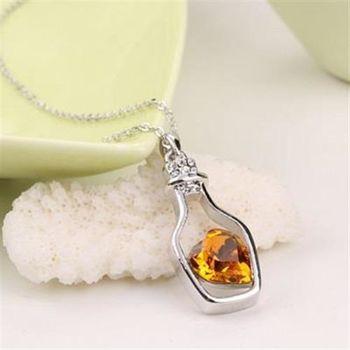 【米蘭精品】925純銀項鍊鑲鑽水晶吊墜甜美氣質許願瓶造型