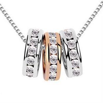 【米蘭精品】925純銀鑲鑽項鍊吊墜個性戒指造型