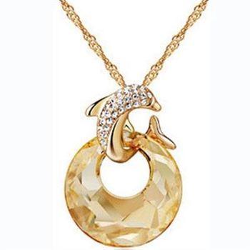 【米蘭精品】925純銀項鍊水晶鑲鑽吊墜優美絢麗海豚造型
