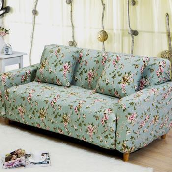 【挪威森林】古典玫瑰園舒適彈性沙發套/沙發罩三人座