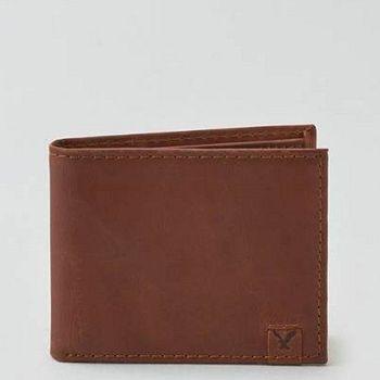 【American Eagle 】2016男時尚前角標誌褐色雙折皮夾(預購)