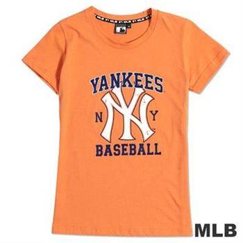 MLB-紐約洋基隊街頭感斑駁印花T恤-桔(女)