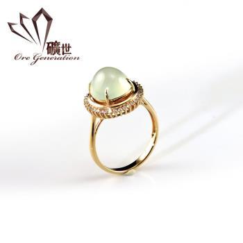 【礦世】18K金真鑽A貨玻璃種翡翠戒指E155