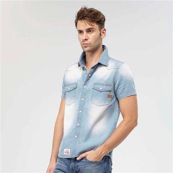 【美國AIRWALK】城市系列刷色牛仔襯衫-藍