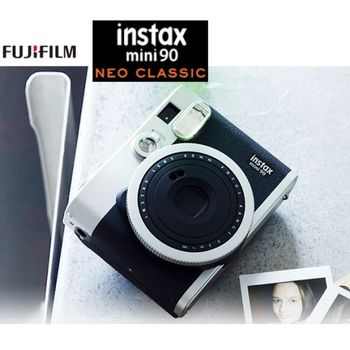 FUJIFILM instax mini 90 復古拍立得相機 (恒昶公司貨)~加送水晶保護殼+底片