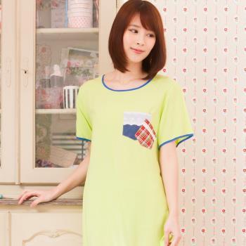 Wonderland ST1621素色格紋嫘縈居家洋裝(綠)