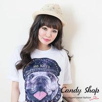 Candy小舖 春裝寬版狗頭潮流嘻哈 T ^#45 白色