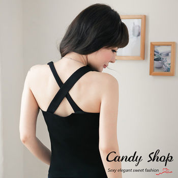 Candy小舖 春裝V領素色針織背心-黑色