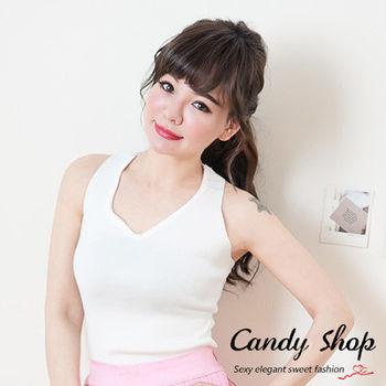 Candy小舖 春裝V領素色針織背心-白色